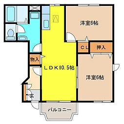 カーサ・タカバI[1階]の間取り