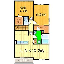 藍住町勝瑞アパートB[201号室]の間取り