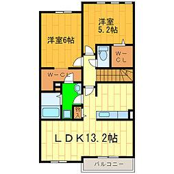 藍住町勝瑞アパートB[202号室]の間取り