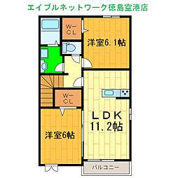 リトルコッティ 2階2LDKの間取り