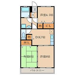 ピースフルマンションB棟[2階]の間取り