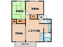 EXCEL打馬B棟[1階]の間取り