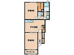 旅人村 D H棟[D102号室]の間取り