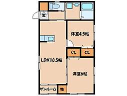 ボヌール(笠之原)[1階]の間取り