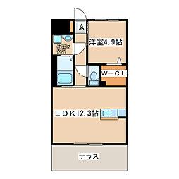 メゾンサンファミリーII 1階1LDKの間取り