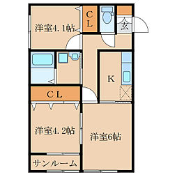 王子町新築アパートA棟(仮称[1階]の間取り