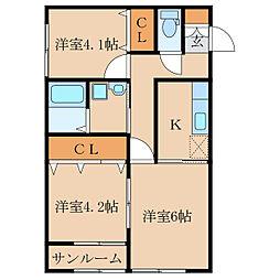 王子町新築アパートC棟(仮称[2階]の間取り