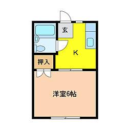 静岡県浜松市中区布橋2丁目の賃貸アパートの間取り