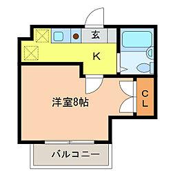 静岡県浜松市中区東伊場2丁目の賃貸マンションの間取り