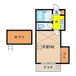 静岡県浜松市中区上浅田1丁目の賃貸アパートの間取り