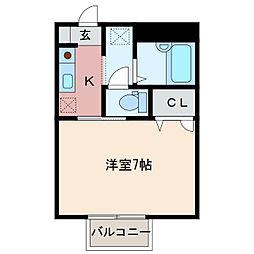 静岡県浜松市中区城北1丁目の賃貸アパートの間取り