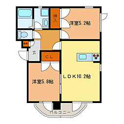 静岡県浜松市中区浅田町の賃貸マンションの間取り