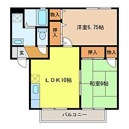静岡県浜松市中区上島6丁目の賃貸アパートの間取り