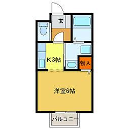 静岡県浜松市中区佐藤2丁目の賃貸アパートの間取り