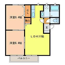 静岡県浜松市南区四本松町の賃貸アパートの間取り