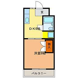 静岡県浜松市中区西浅田1丁目の賃貸マンションの間取り
