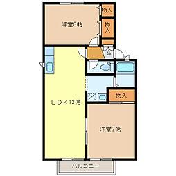 静岡県浜松市中区領家2丁目の賃貸アパートの間取り