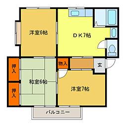 静岡県浜松市中区曳馬4丁目の賃貸アパートの間取り