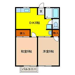 静岡県浜松市中区南浅田1丁目の賃貸アパートの間取り