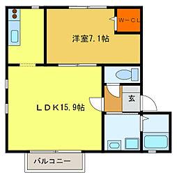 静岡県浜松市中区下池川町の賃貸アパートの間取り
