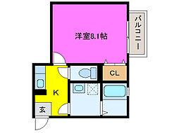 静岡県浜松市東区和田町の賃貸アパートの間取り