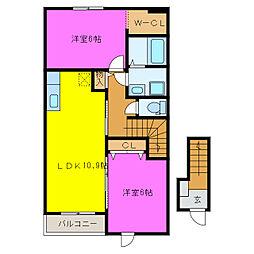 静岡県浜松市南区瓜内町の賃貸アパートの間取り