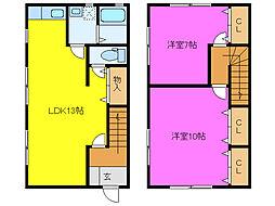 静岡県浜松市東区有玉西町の賃貸アパートの間取り