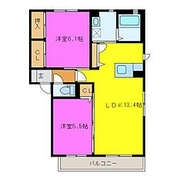 静岡県浜松市西区志都呂2丁目の賃貸アパートの間取り