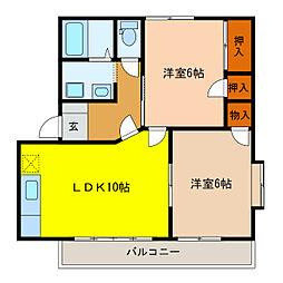 静岡県浜松市南区新橋町の賃貸アパートの間取り