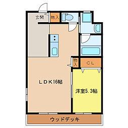 静岡県浜松市中区佐鳴台5丁目の賃貸マンションの間取り