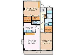 愛知県名古屋市緑区水広3丁目の賃貸マンションの間取り