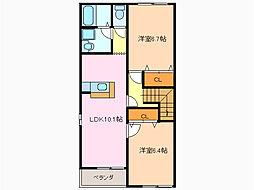 愛知県名古屋市緑区大清水4丁目の賃貸アパートの間取り
