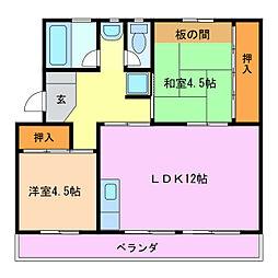 桜ケ丘ハイツA棟B棟[2階]の間取り