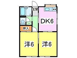JR内房線 長浦駅 徒歩20分の賃貸アパート 1階2DKの間取り