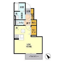 JR内房線 袖ヶ浦駅 徒歩17分の賃貸アパート 1階1Kの間取り