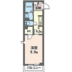 JR内房線 五井駅 徒歩10分の賃貸マンション 3階1Kの間取り