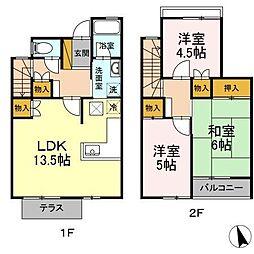 長浦駅前ハイツC 1階3LDKの間取り