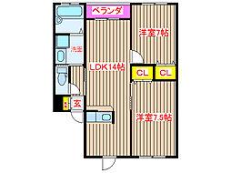 鹿児島県姶良市西餅田の賃貸アパートの間取り