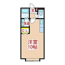 CubeX 2階ワンルームの間取り