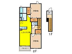 フィオーレ勝山B[2階]の間取り