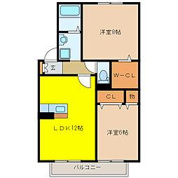 シェトワボヌールA[2階]の間取り