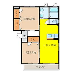 エスポワールGIYOU A.B[3階]の間取り
