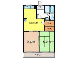 柿沢ハイツB[2階]の間取り