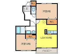 プラムフィールドB[1階]の間取り