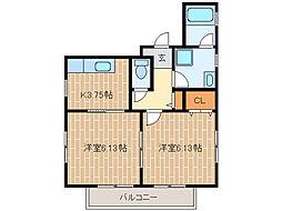 静岡県浜松市中区高林4丁目の賃貸アパートの間取り