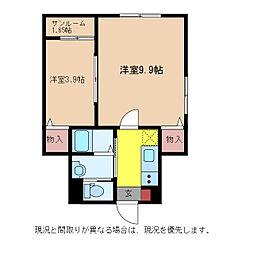 JR信越本線 新潟駅 徒歩33分の賃貸アパート 1階2Kの間取り
