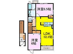 JR東北本線 古河駅 8.1kmの賃貸アパート 2階2LDKの間取り