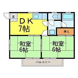 長野アパート[202号室]の間取り