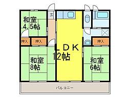 秋山ハイツ上辺見[4階]の間取り