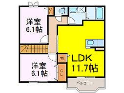 茨城県古河市桜町の賃貸アパートの間取り